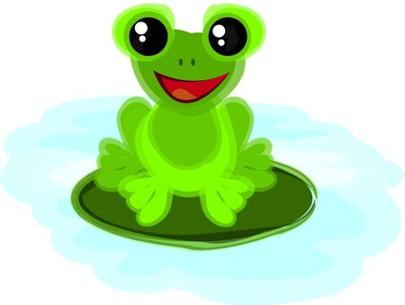 Little Frog Cartoon Character sitting in a pond Vector