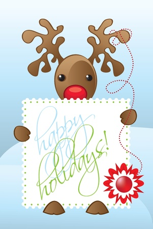 Reindeer Illustration with a happy holidays card Stock Vector - 12473128