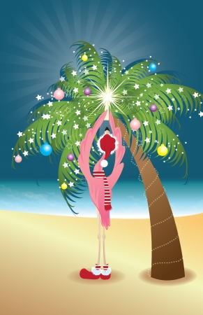 christmas tree illustration: Holiday Flamingo putting a star on decorated palm tree