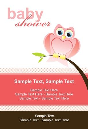 owl illustration: Cute owl card, baby shower invite
