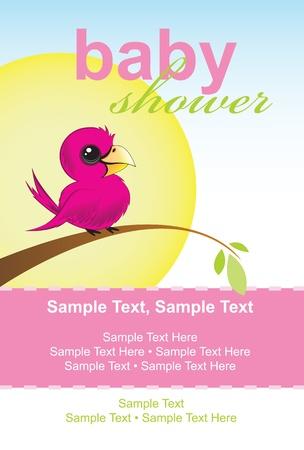 Baby Shower Invitation, little bird sitting on a branch Vector