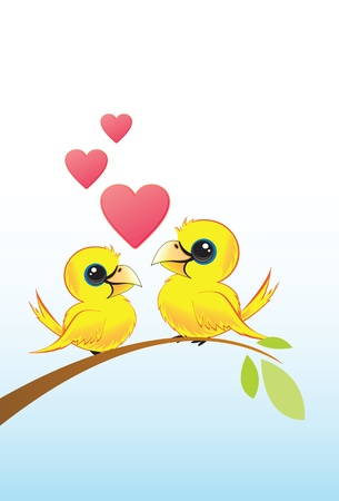 Two Love Birds With Hearts Vector