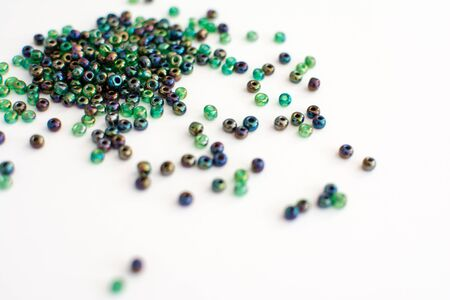 Colorful beads on white background Stock Photo