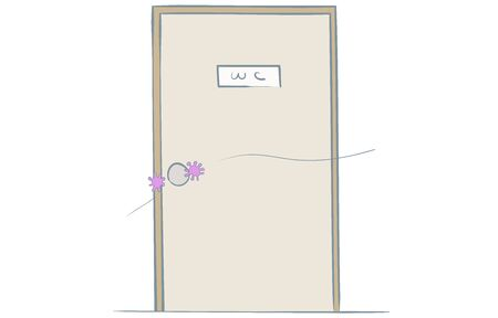 Illustration that virus attaches to a door knob Vectores
