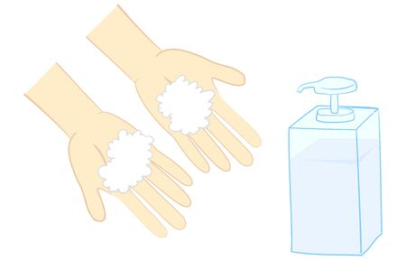 Illustration of washing hands with hand soap