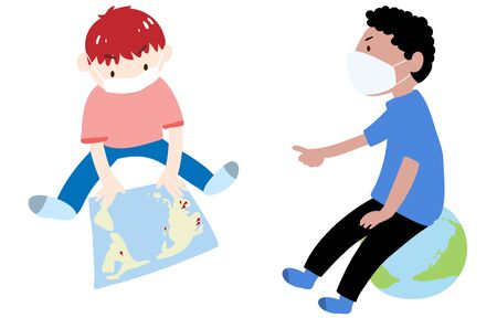 Illustration of boys wearing a mask and looking at the world map with pin stuck
