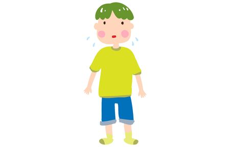Illustration of a boy who is in trouble sweating  イラスト・ベクター素材