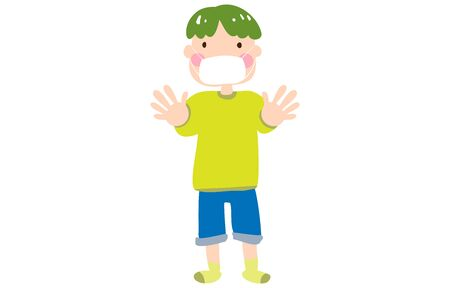 Illustration of a boy wearing a mask and sticking out both hands  イラスト・ベクター素材