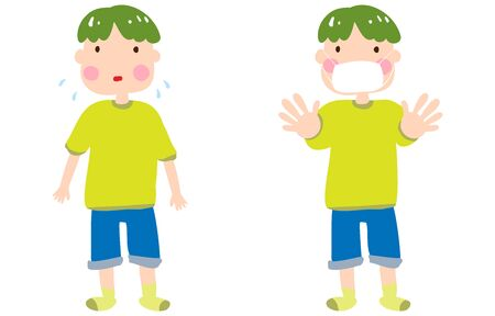 Illustration of a boy who is troubled without a mask and a boy who sticks out his hands with a mask