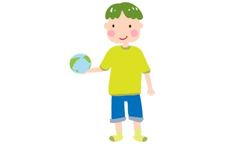 Illustration of a boy laughing holding the earth in his hand  イラスト・ベクター素材