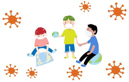 Illustration of three boys talking about coronavirus 写真素材 - 143924131