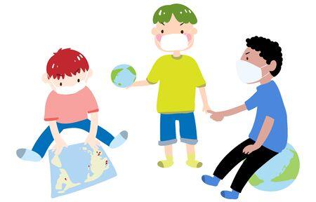 Illustration of three boys talking about coronavirus 写真素材 - 143924129