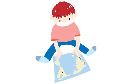 Illustration of a boy wearing a mask and looking at the world map with a pin stuck