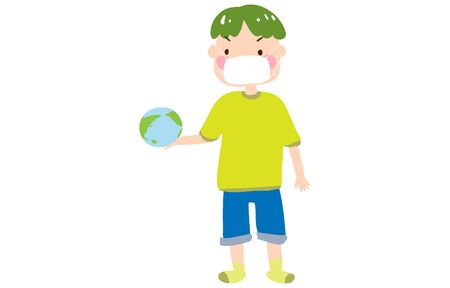 Illustration of a boy wearing a mask watching the earth holding a toy in his hand 向量圖像