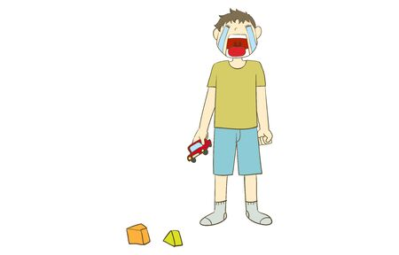 A boy crying while holding a toy minicar