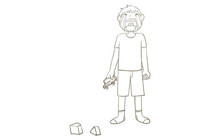 A boy crying while holding a toy minicar Line drawing