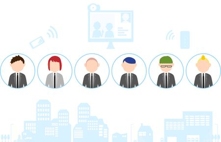 Telework image illustration-illustration set of people and cityscape Illustration