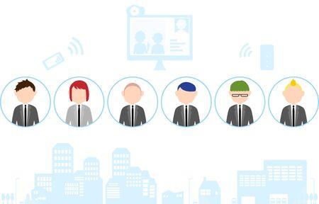 Telework image illustration-illustration set of people and cityscape