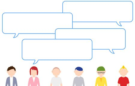 Image illustration where many people have a conversation