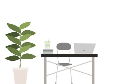 Illustration of a room with houseplants