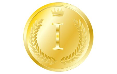 Laurel wreath and crown alphabet coins, I