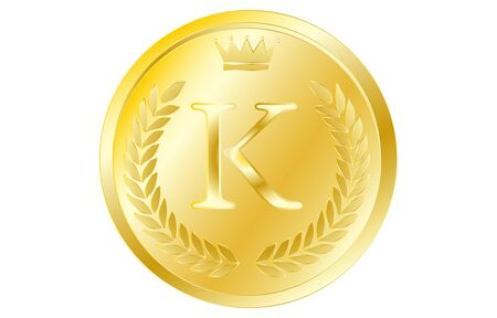 Laurel wreath and crown alphabet coins, K