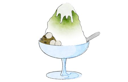 Ujikintoki shaved ice, with anko, shiratama and condensed milk Illustration