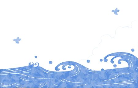 Summer background material, sea and approaching clouds and seagulls  イラスト・ベクター素材