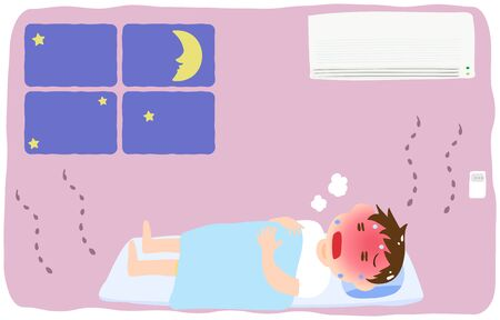 Illustration of a boy getting heat stroke without turning on the air conditioner Illustration