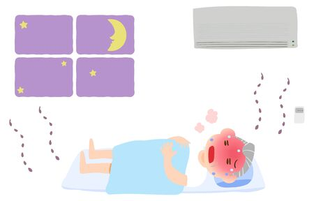 Illustration of an old man sleeping without an air conditioner and having heat stroke