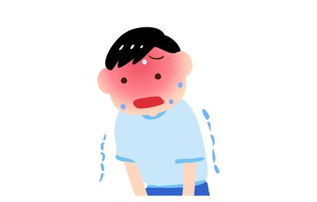 Illustration of a boy trembling with heat stroke