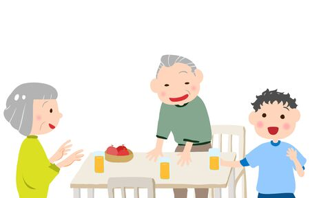 Illustration of an old couple laughing with their grandchildren 일러스트