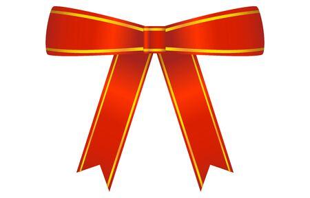 Illustration of red ribbon ornament