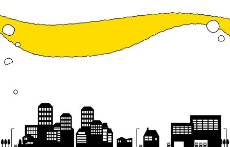 Background material, simple cityscape silhouette  イラスト・ベクター素材