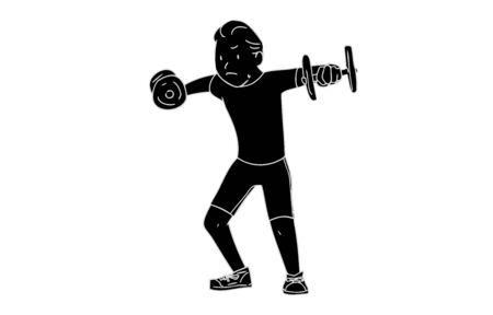 Monochrome person material: male, training, side raise Illustration