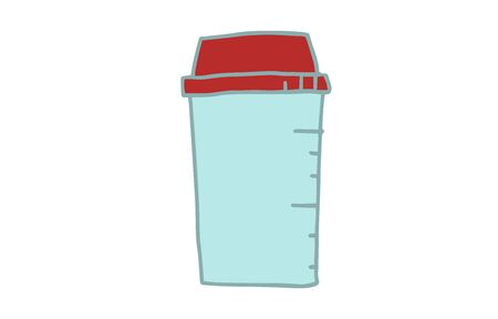 Illustration of strength training item, protein shaker