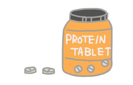 Illustration of strength training item, tablet type protein  イラスト・ベクター素材
