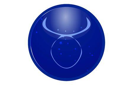 Blue 12 constellation icon with star arrangement: Taurus