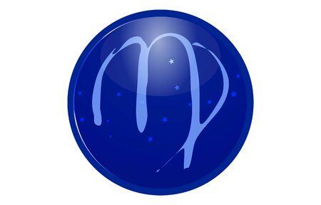 Blue 12 constellation icon with star arrangement: Virgo
