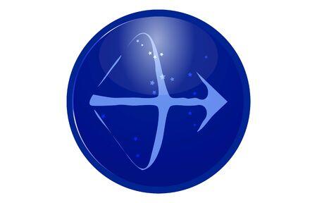 Blue 12 constellation icon with star arrangement: Sagittarius