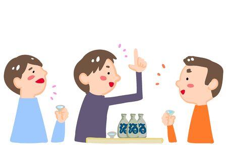 Three men drinking sake and getting excitedTranslation: sake