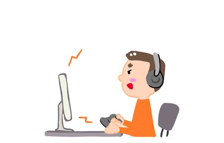 Illustration of a person playing a game on a personal computer Ilustrace