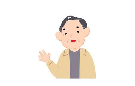 Illustration of an old man waving  イラスト・ベクター素材