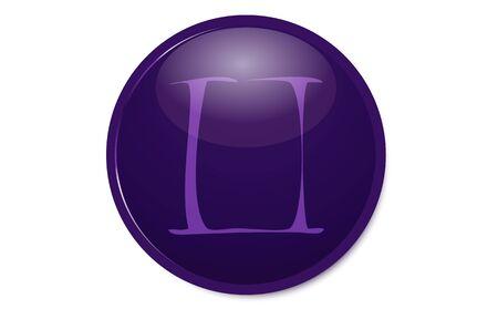 Purple 12 constellation icon : Gemini