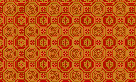 Golden and red Japanese pattern arabesque pattern and polygonal shape