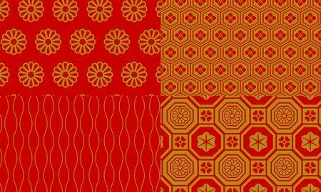 Golden and red Japanese pattern chrysanthemum, flower stone turtle shell, Tachiwaku, Shu River