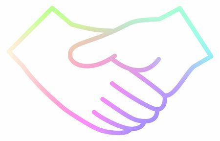 Handshake vector icon with a rainbow line Ilustração