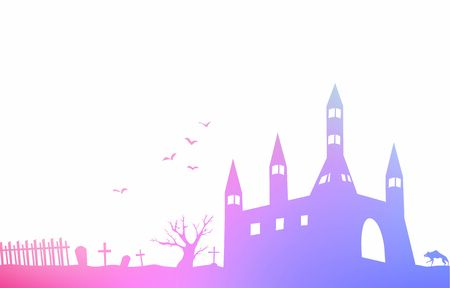 Background material of landscape silhouette of old castle and bat and graveyard