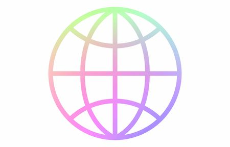 Globe vector icon with rainbow color line