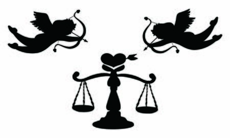 Love Scale and Cupid black silhouette